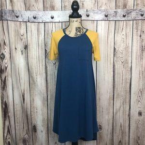 LuLaRoe Green Yellow Carly Dress XXS